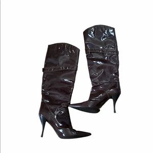 Sengio Rossi Vero Cuoio Knee Patent Leather Boots